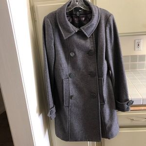H&M Double Breasted Grey Wool Coat Size 12